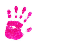 Handprint by children isolated on a white background Stock Photos