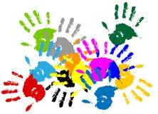 Handprint colorido da tinta do vetor Imagem de Stock