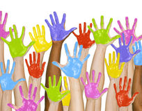 Handprint Colors Cheerful Painting Concept Royalty Free Stock Images