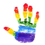 Handprint with the colors of the rainbow flag. A handprint with the colors of the rainbow flag on a white background royalty free stock photo