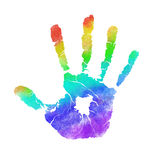 Handprint. In colors of the rainbow isolated on white Royalty Free Stock Photography
