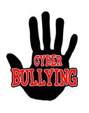 Handprint cyberbullying. Man handprint isolated on white background showing stop cyberbullying Stock Photos