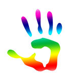 Handprint d'isolement par arc-en-ciel photographie stock