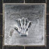 Handprint de Cameron Diaz a placé en 2002 pendant le film Fes de Cannes images stock