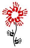 Handprint in de vorm van een bloem Stock Afbeeldingen