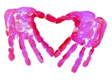 HandPrint in de vorm van hart Stock Afbeelding