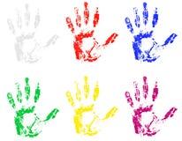 Handprint dell'illustrazione differente di vettore di colori illustrazione di stock