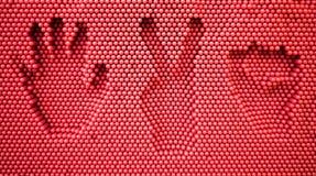 Handprint di carta di forbici della roccia Immagini Stock