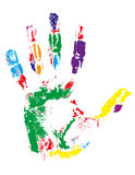 Handprint of different colors vector illustration Royalty Free Stock Images
