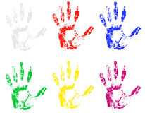 Handprint of different colors vector illustration Stock Photography