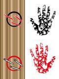 Handprint do whit do esboço do livro de coloração Ilustração do Vetor