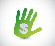 Handprint and dollar sign illustration. Design over a white background Royalty Free Stock Images