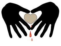 Handprint e coração Ilustração do Vetor