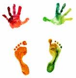 Handprint e pegada coloridos da aquarela Imagem de Stock