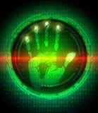 Handprint e protezione dei dati sullo schermo digitale Immagine Stock