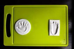 Handprint ed orma del bambino Fotografia Stock Libera da Diritti