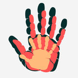 Handprint of family. Palm of man, woman and child.  Symbol of parenting relationship. vector. Handprint of family. Palm of man, woman and child.  Symbol of Stock Images