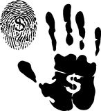 Handprint and fingerprint with dollar signs Stock Photo