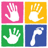Handprint and footprint. Set of handprint and footprint with colorful background Stock Image