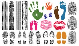 Handprint, footprint, fingerprint, print of the lips, tire tracks. Imprint set collection evidence. Vector illustration Royalty Free Stock Images