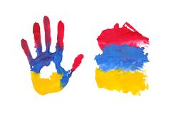 Handprint in the form of the flag of Armenia. black, red, green color of the flag. Black, red, green color of the flag. handprint in the form of the flag of vector illustration