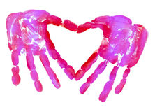 HandPrint in the form of heart. HandPrint in the form of Love Stock Image