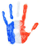 Handprint of a France flag on a white Stock Images