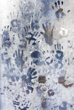 Handprint on the frozen ice window Stock Images