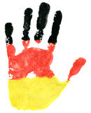 Handprint of a German flag on a white Royalty Free Stock Images
