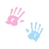 Handprint of girl and boy Royalty Free Stock Photos