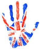 Handprint of a Great Britan flag on a white Stock Photography
