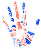 Handprint of a Great Britan flag on a white Royalty Free Stock Photos