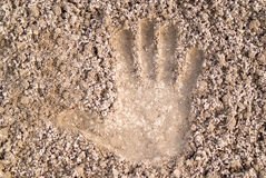 Handprint on the ground Stock Photography