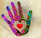 Handprint with heart Royalty Free Stock Photos