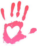 Handprint heart. Pink handprint with heart, on a white background. Vector illustration Stock Photography