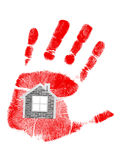 Handprint and house in the middle. illustration Stock Image