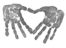 HandPrint i form av hjärta Arkivfoton
