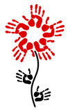 Handprint i formen av en blomma Arkivbilder