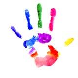 Handprint i vibrerande färger av regnbågen vektor illustrationer