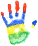 Handprint of a Mauritius flag on a white Stock Image