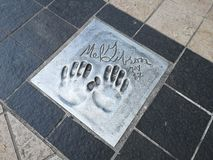 Cannes festival, Hand Prints Photos. Handprint of Mel Gibson at the Esplanade Georges Pompidou in the city Cannes, French Riviera, Provence Alpes Côte d& x27 royalty free stock photography