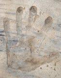 Handprint no concreto Fotos de Stock Royalty Free