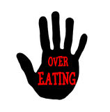 Handprint over eating Royalty Free Stock Photo