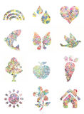 Handprint painted shapes -. Handprint painting collection, with mulit colores and shapes royalty free stock photo