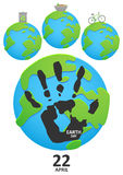 Handprint on planet earth Royalty Free Stock Photo