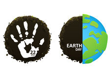 Handprint on planet earth eco Stock Images
