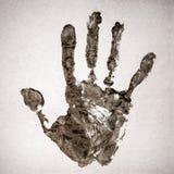 Handprint reale su carta reale Immagini Stock Libere da Diritti