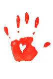 Handprint in red. Royalty Free Stock Image