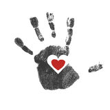 Handprint with red heart symbol. Vector Stock Image