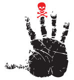 Handprint with red skull Stock Photos